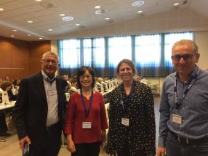 Första dagens föreläsare med delar av SFKCs styrelse Från vänster EFCS Tutorial Chair prof. Luigi di Bonito, Dr Edneia Tani, Dr Eva darai Rahmqvist och Dr Henryk Domanski
